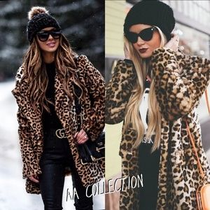 New Faux Fur Jacket Coat Leopard Animal print S-L